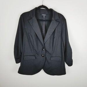 Torrid black 3/4 rouching sleeve know blazer 2x